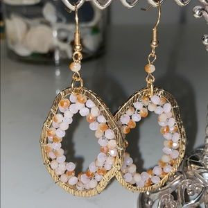 Jewelry - Gold tone and pink beaded earrings